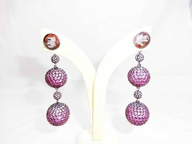 Graduated Three Balls Sapphire Ruby Pink Sapphire Diamond White Gold Earrings  2