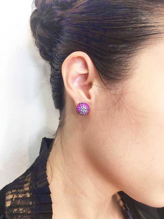 Graduated Three Balls Sapphire Ruby Pink Sapphire Diamond White Gold Earrings  5