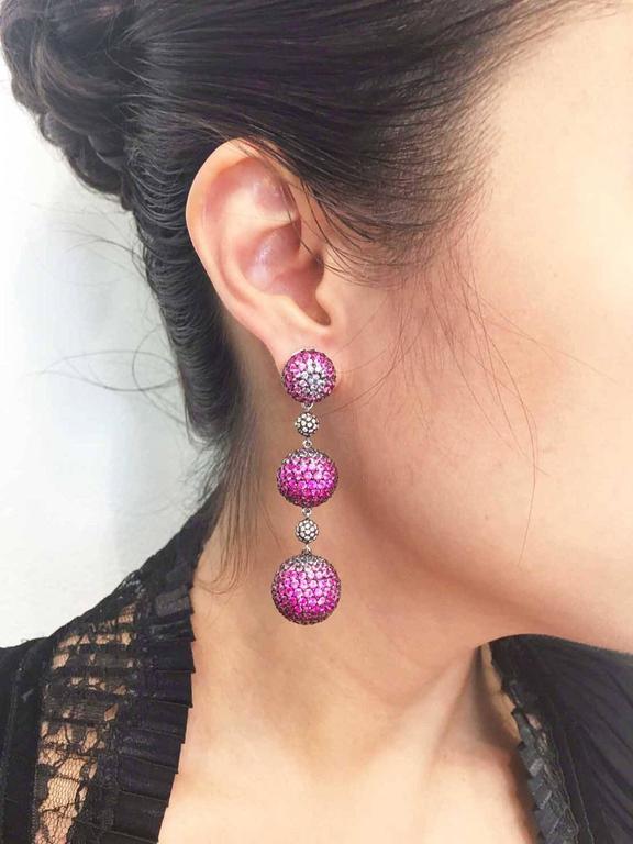 Graduated Three Balls Sapphire Ruby Pink Sapphire Diamond White Gold Earrings  6