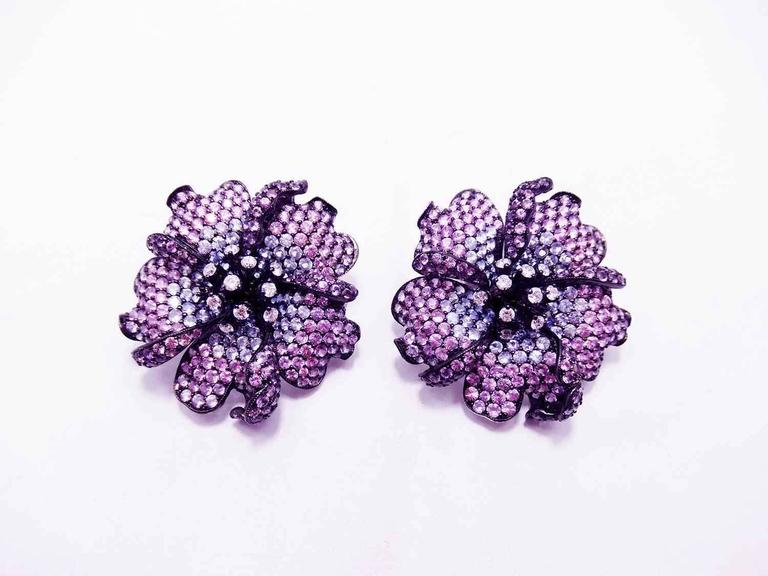 Women's Big Mun flower earrings with Purple sapphire,Sapphire and Diamond For Sale