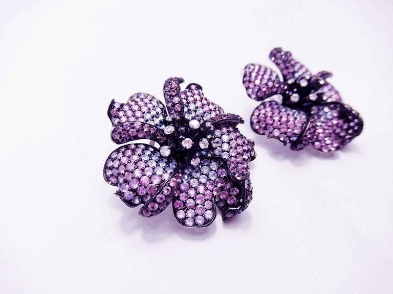 Big Mun flower earrings with Purple sapphire,Sapphire and Diamond For Sale 1