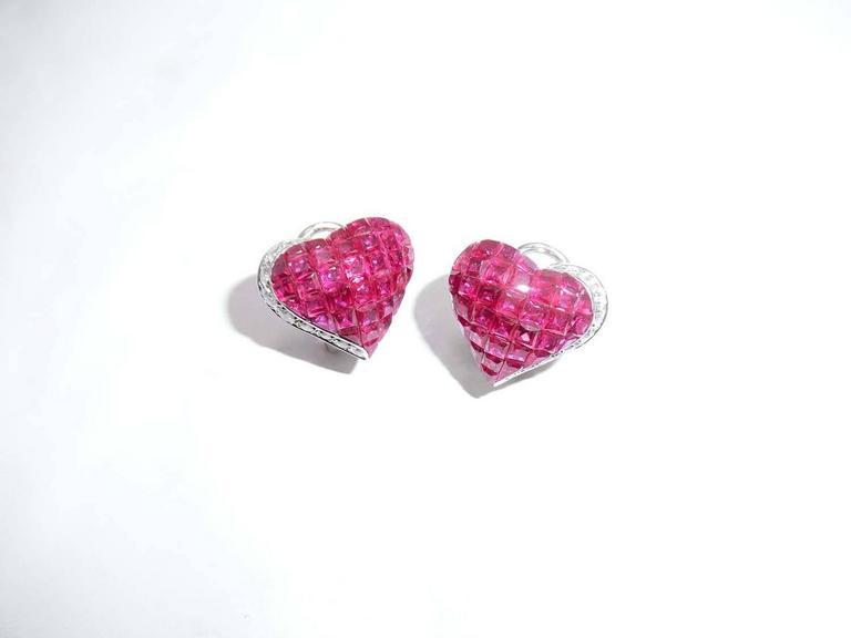 Ruby Diamond Gold Heart Stud Earrings 4