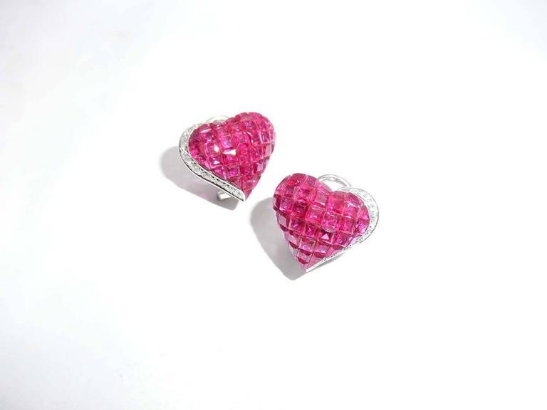 Ruby Diamond Gold Heart Stud Earrings 5
