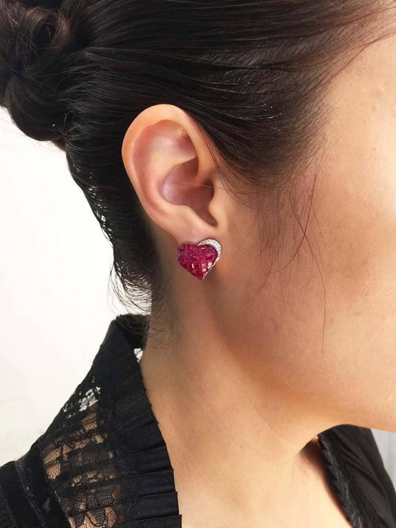 Ruby Diamond Gold Heart Stud Earrings 8