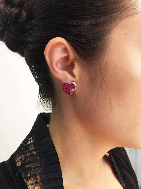 Ruby Diamond Gold Heart Stud Earrings 9