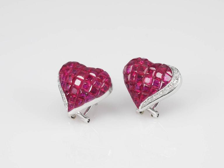 Ruby Diamond Gold Heart Stud Earrings 2