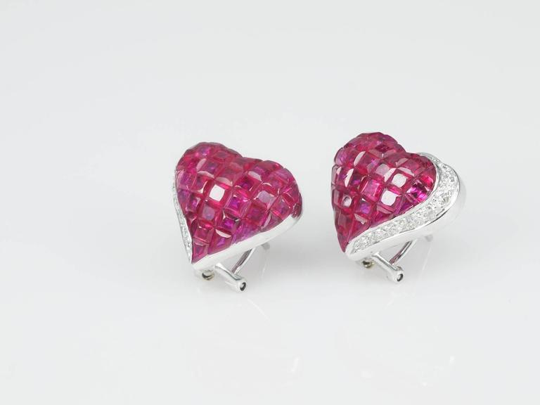 Ruby Diamond Gold Heart Stud Earrings 3