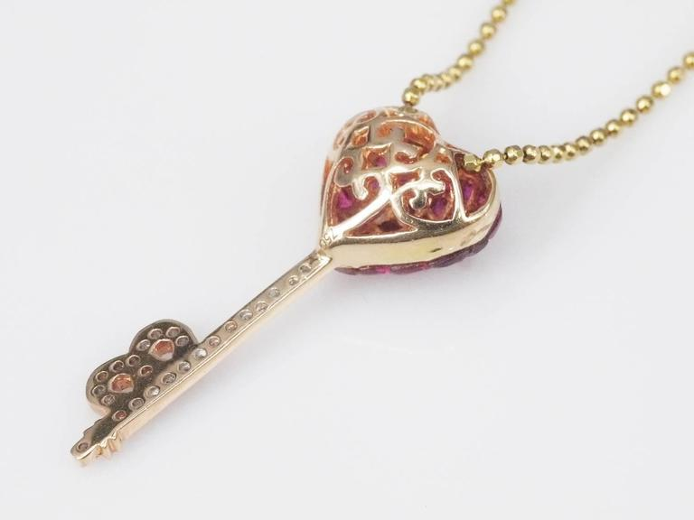Ruby diamond gold heart key pendant necklace at 1stdibs ruby diamond gold heart key pendant necklace in as new condition for sale in bangkok aloadofball Image collections