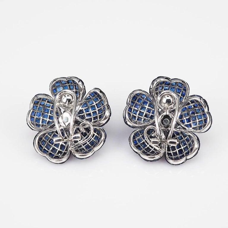 Heart Petal Sapphire Invisible Earrings 2