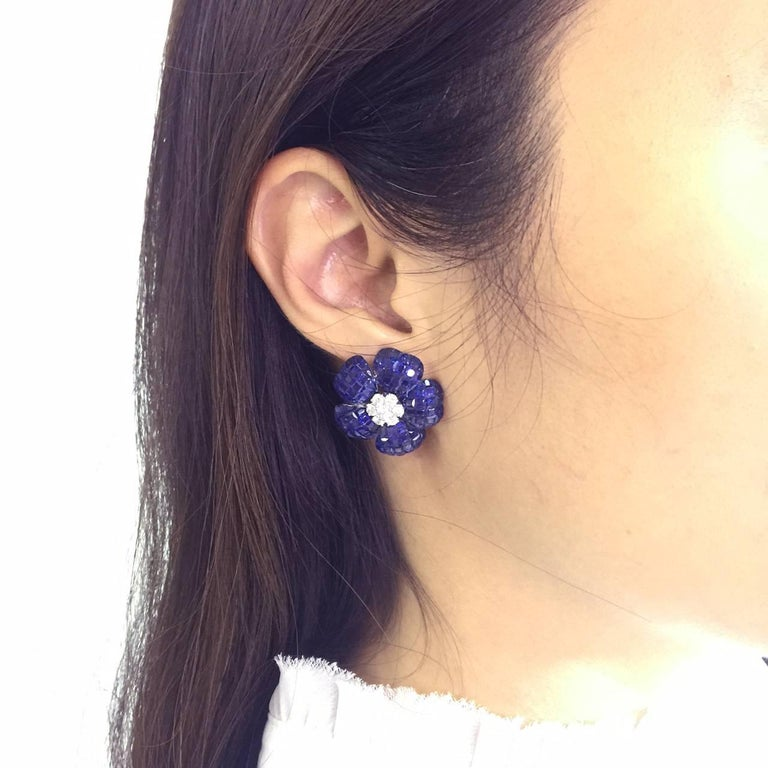 Women's Heart Petal Sapphire Invisible Earrings For Sale