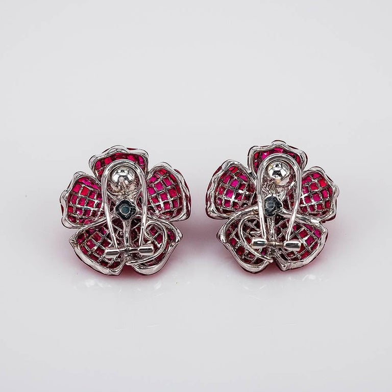 Modern Diamond Emerald Ruby 18 Karat Gold invisible Clip on Earrings For Sale
