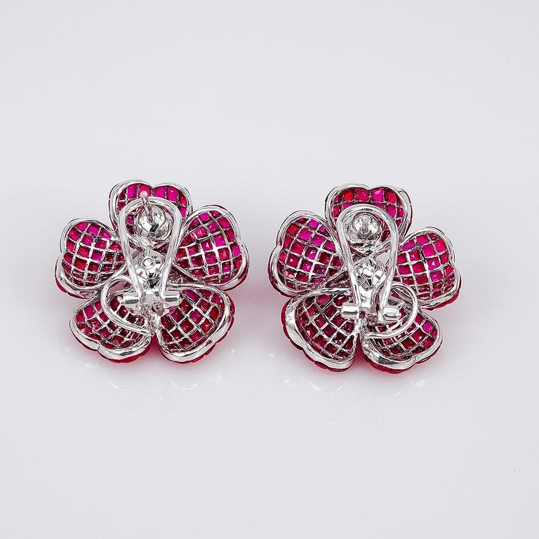 Modern 18K white gold flower Ruby and Diamond invisible Earrings For Sale