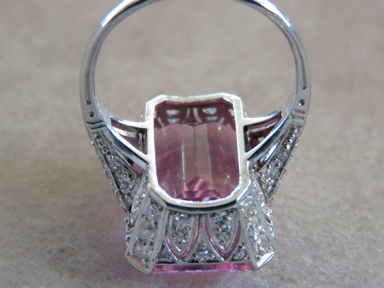 Art Deco French Morganite Diamond Platinum Ring For Sale at 1stdibs