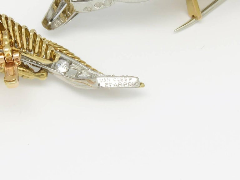 Van Cleef & Arpels Diamond Gold and Platinum Brooches For Sale 1