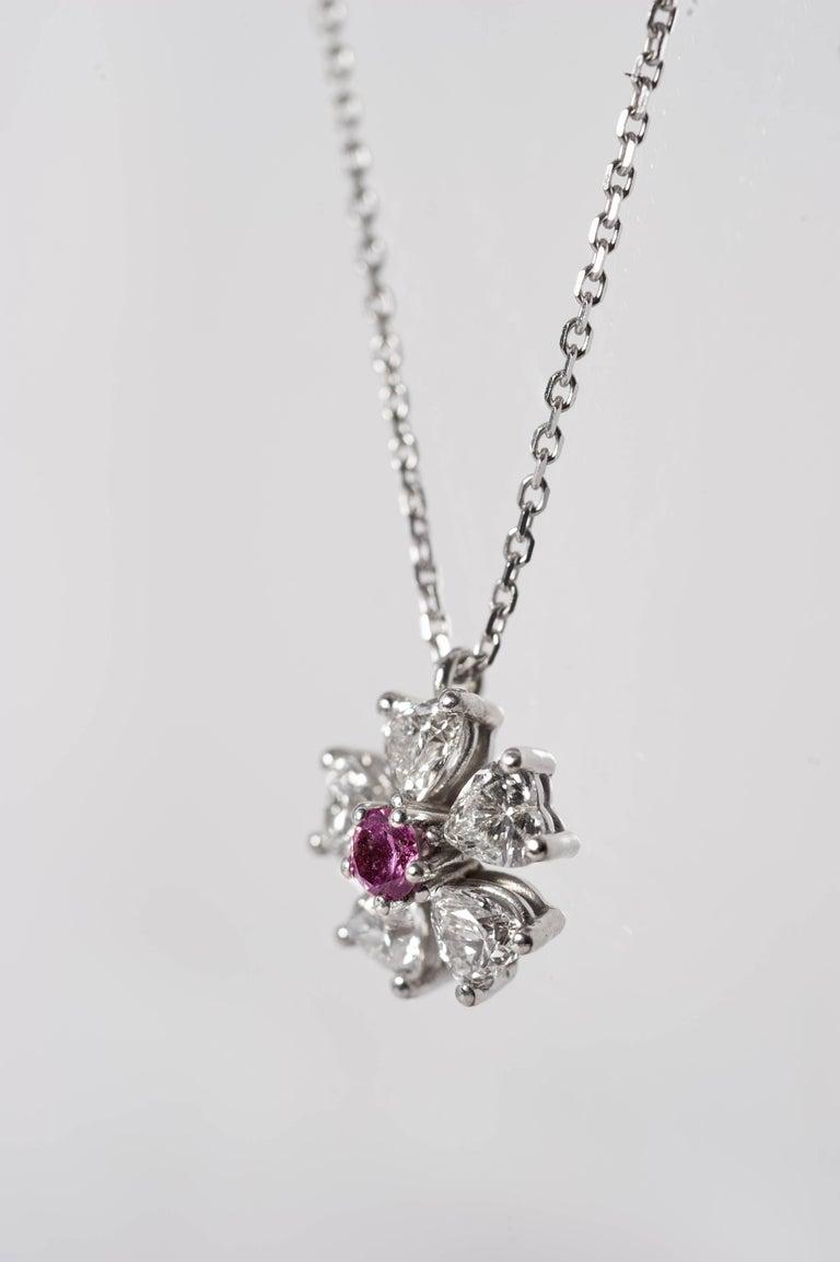 Floral Motif Diamond Pendant with Ideal Cut Heart Shaped Diamonds ...