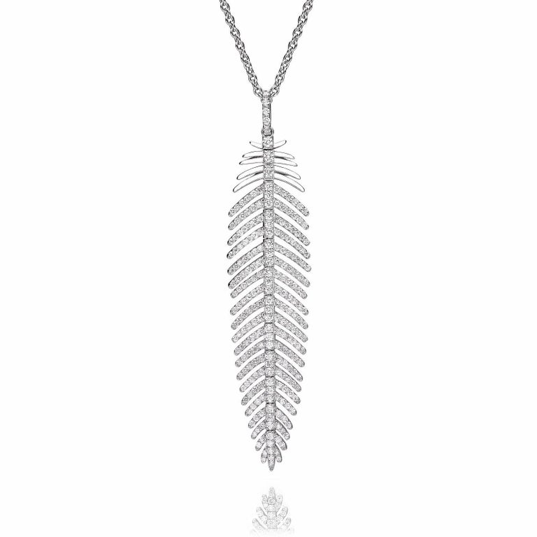 5.55 Carat Diamonds Feather Dangle Pendent and Earring Set 3