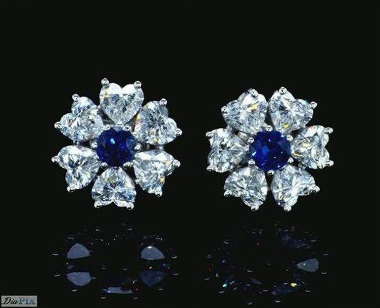 Limited edition Interchangeable Floral Diamond Earrings 2.84 Carat Total Diamond Weight in style of the Romantic Era. EGL Certified. Those exquisite earrings combine the beauty or flowers with the beauty of hearts to create a romantic fascinating