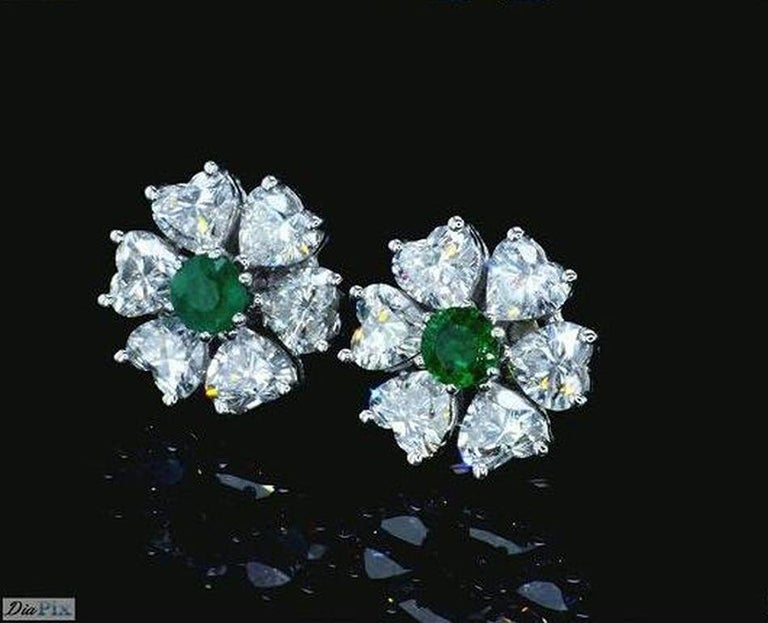 Romantic 2.84 Carat Floral Interchangeable Diamond Earrings Set with Heart Shape Diamonds For Sale