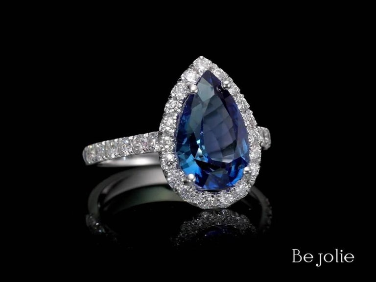 3.53 Carat Pear Shape Blue Sapphire and Diamond  Engagement Ring In New Condition For Sale In New York, NY