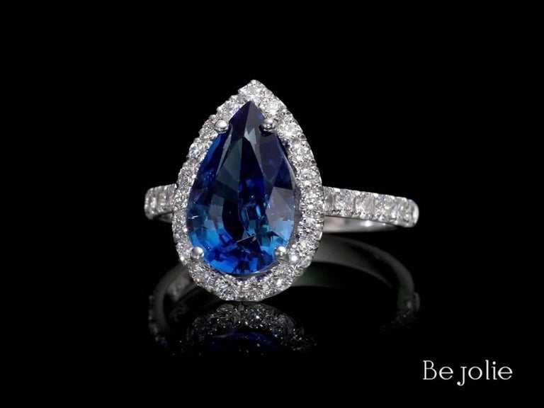 Art Deco 3.53 Carat Pear Shape Blue Sapphire and Diamond  Engagement Ring For Sale