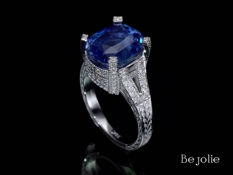 Women's or Men's 11.01 Carat Blue Sapphire and Diamond engagement Ring, GRS Certified For Sale