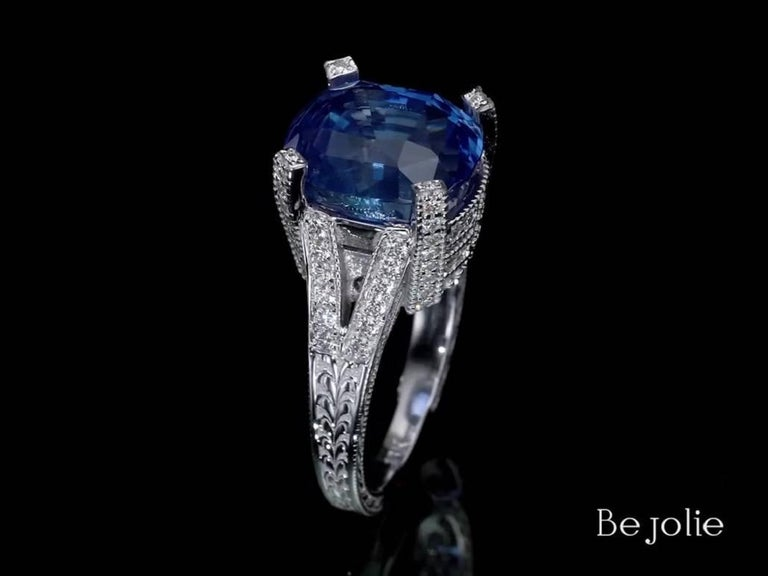 Cushion Cut 11.01 Carat Blue Sapphire and Diamond engagement Ring, GRS Certified For Sale