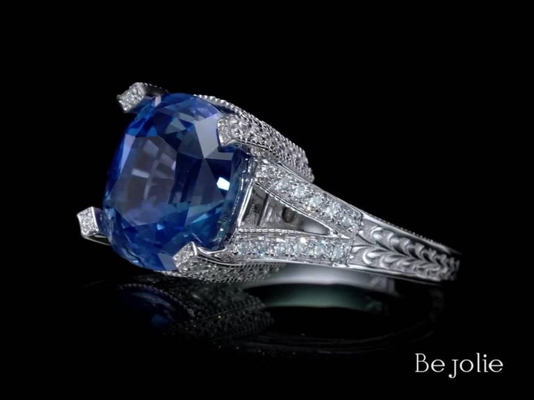 11.01 Carat Blue Sapphire and Diamond engagement Ring, GRS Certified In New Condition For Sale In New York, NY