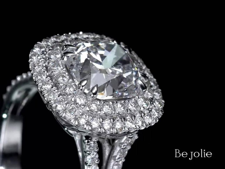 3.28 Carat Cushion Cut Diamond Halo Engagement Ring GIA Certified E / VS1 For Sale 1