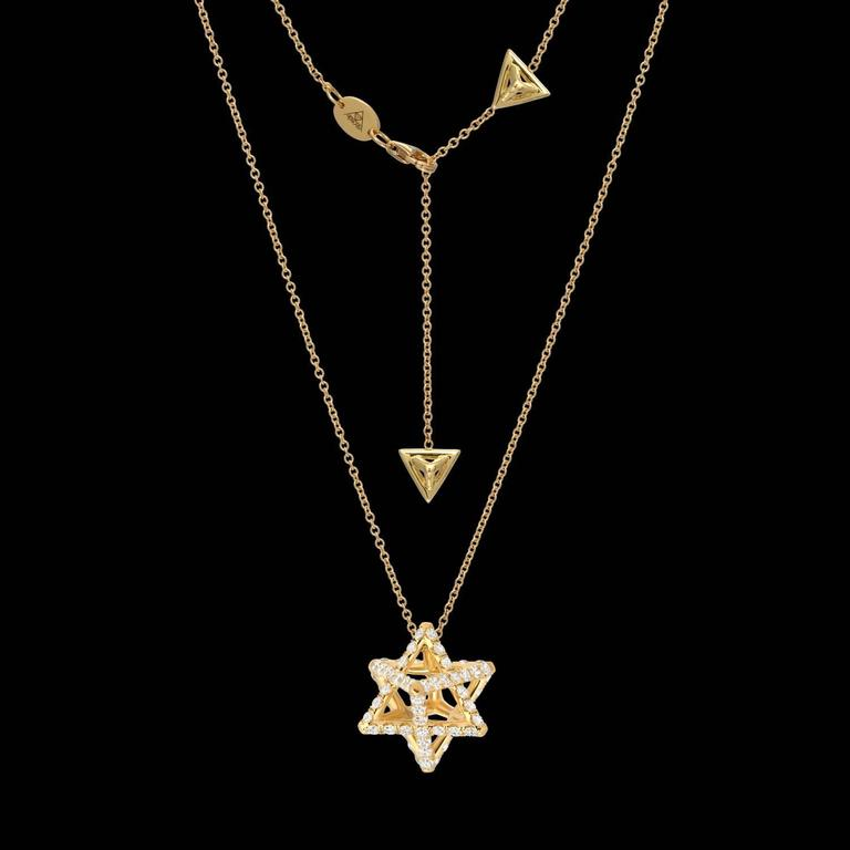 Star of david merkaba diamond gold geometric pendant necklace for merkaba 18k yellow gold necklace featuring a total of approximately 112 carats of round brilliant diamonds aloadofball Gallery