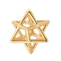 Merkaba Unisex Three Dimensional Star Yellow Gold Pendant Necklace