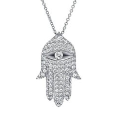 Hamsa Diamond White Gold Pendant