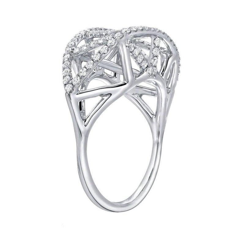 Modern Diamond White Gold Lattice Ring For Sale