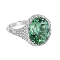 Mint Green Tourmaline Diamond Platinum Ring Oval 10.40 Carat