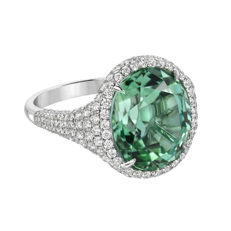 Magnificent 10.40 Carat Mint Green Tourmaline Diamond Platinum Ring