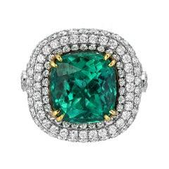 Emerald Colombian Platinum Gold Ring Cushion 9.07 Carat Gubelin Certified