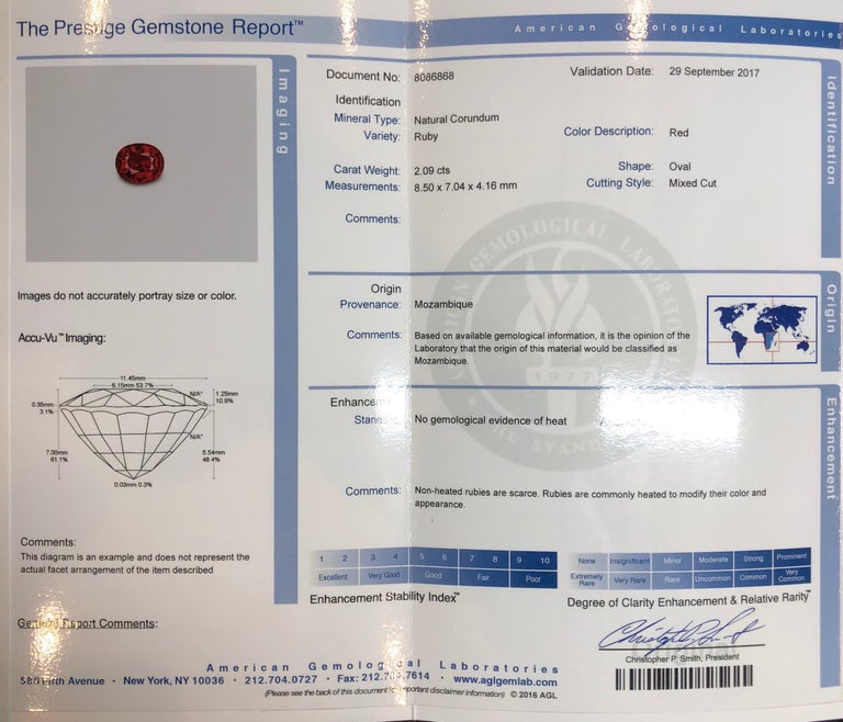 Ruby Unheated Oval 2.09 Carat AGL Certified No Heat In New Condition For Sale In Beverly Hills, CA