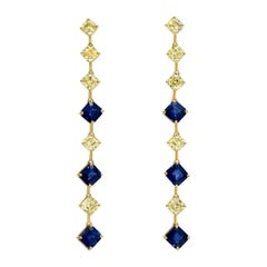 Sapphire Asscher Cut Fancy Yellow Diamond Gold Earrings