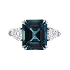 Unheated Sapphire Diamond Three-Stone Platinum Engagement Ring GIA 6.07 Carat