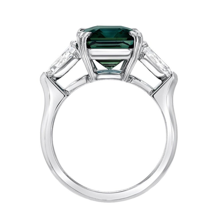 Emerald Cut Natural Blue Sapphire Ring Unheated Engagement Cocktail Ring GIA 6.07 Carat For Sale