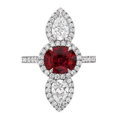Unheated Ruby Diamond Platinum Red Cocktail Ring AGL Certified 2.09 Carat