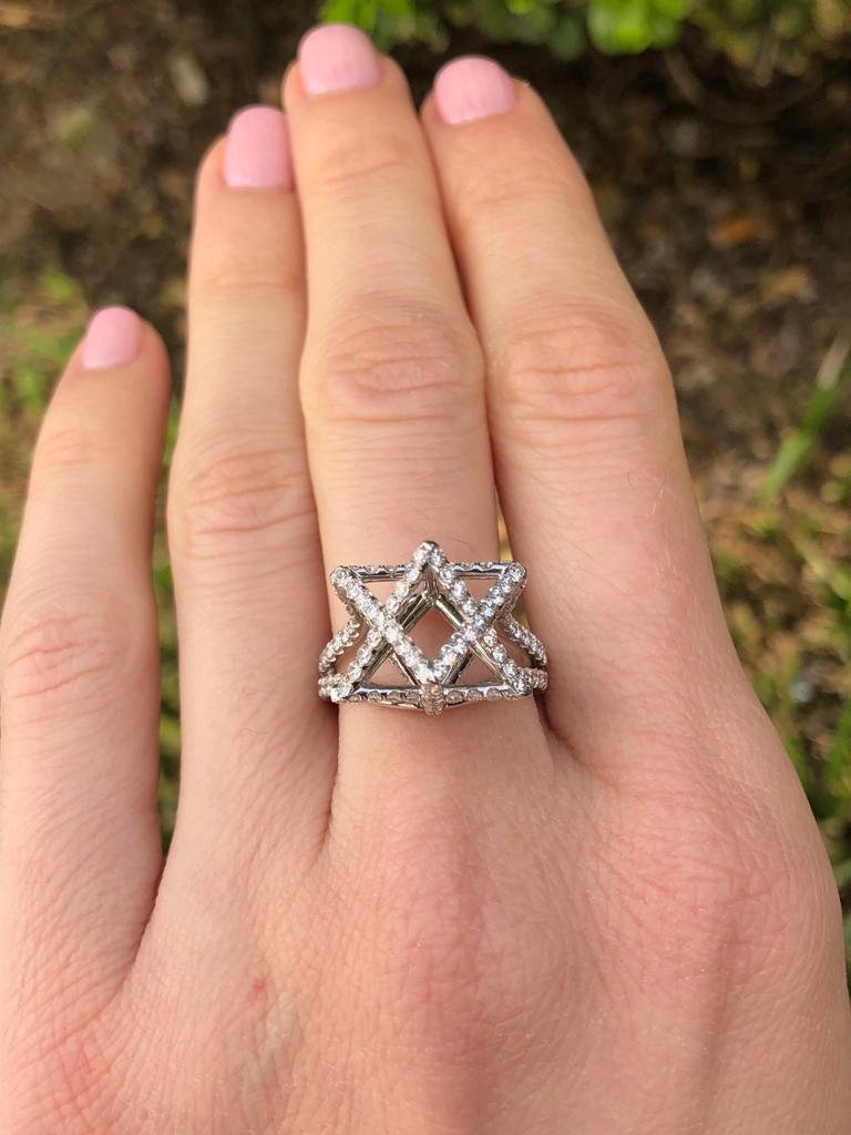 Merkaba Diamond Platinum Ring Three Dimensional Star For Sale 1