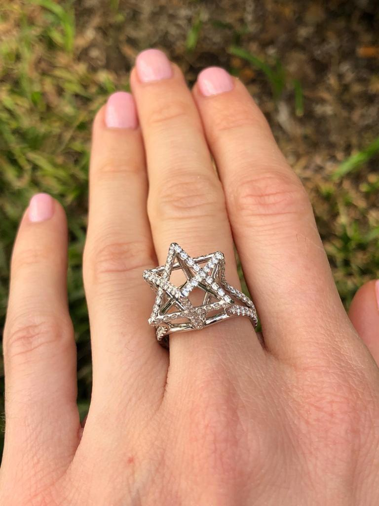 Women's Merkaba Diamond Platinum Ring Three Dimensional Star For Sale