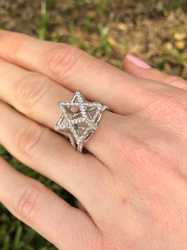 Merkaba Diamond Platinum Ring Three Dimensional Star For Sale 2