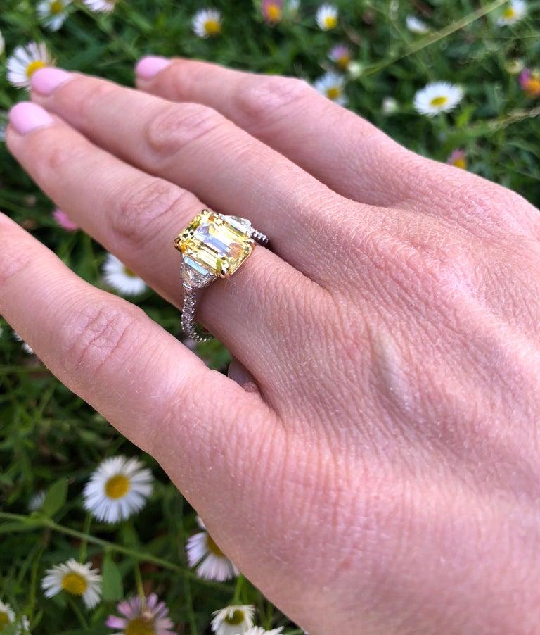 Natural Yellow Sapphire Ring Ceylon Emerald Cut Diamond Platinum Cocktail Ring For Sale 2