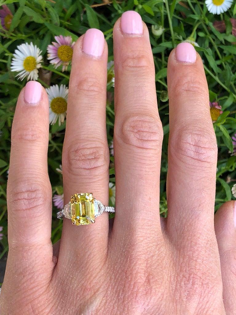 Natural Yellow Sapphire Ring Ceylon Emerald Cut Diamond Platinum Cocktail Ring For Sale 1