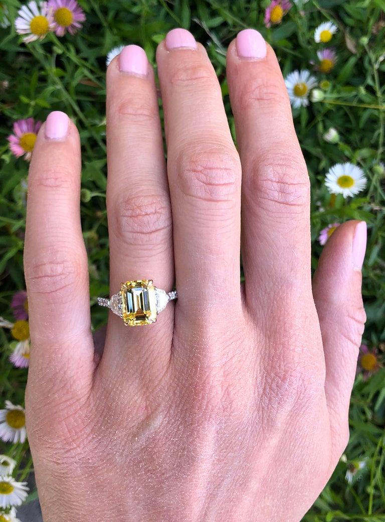 Natural Yellow Sapphire Ring Ceylon Emerald Cut Diamond Platinum Cocktail Ring For Sale 3