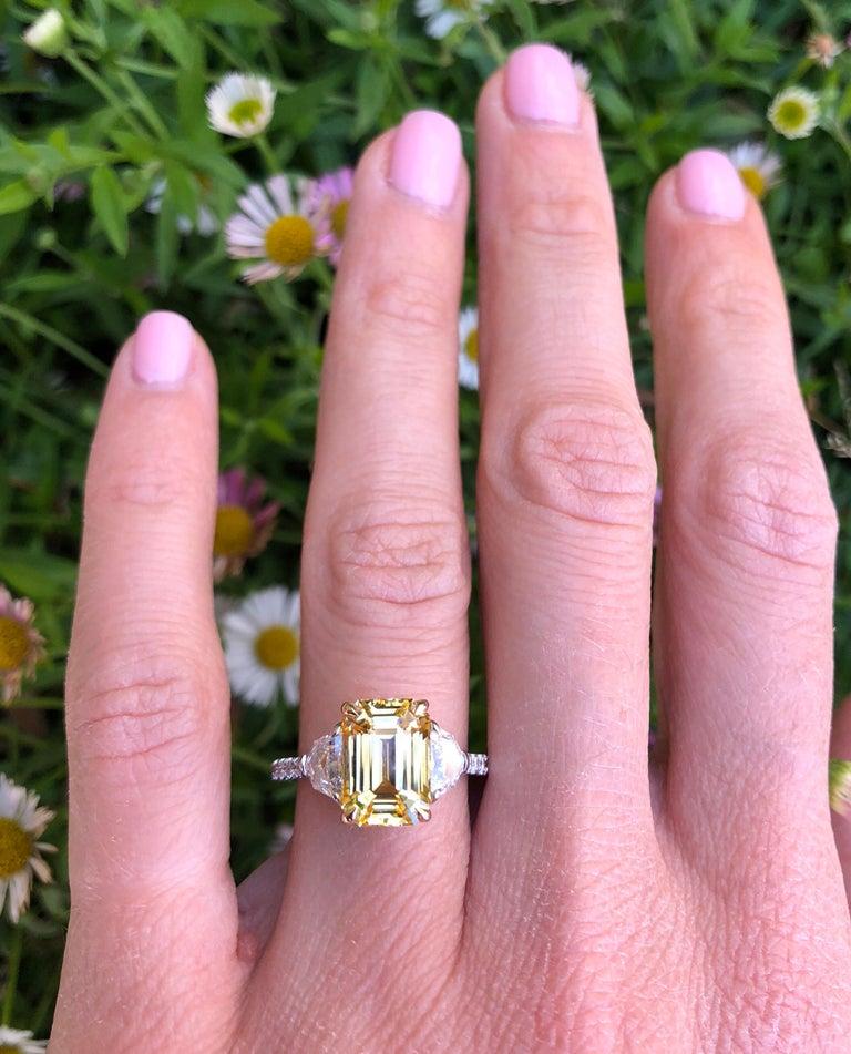 Natural Yellow Sapphire Ring Ceylon Emerald Cut Diamond Platinum Cocktail Ring For Sale 4