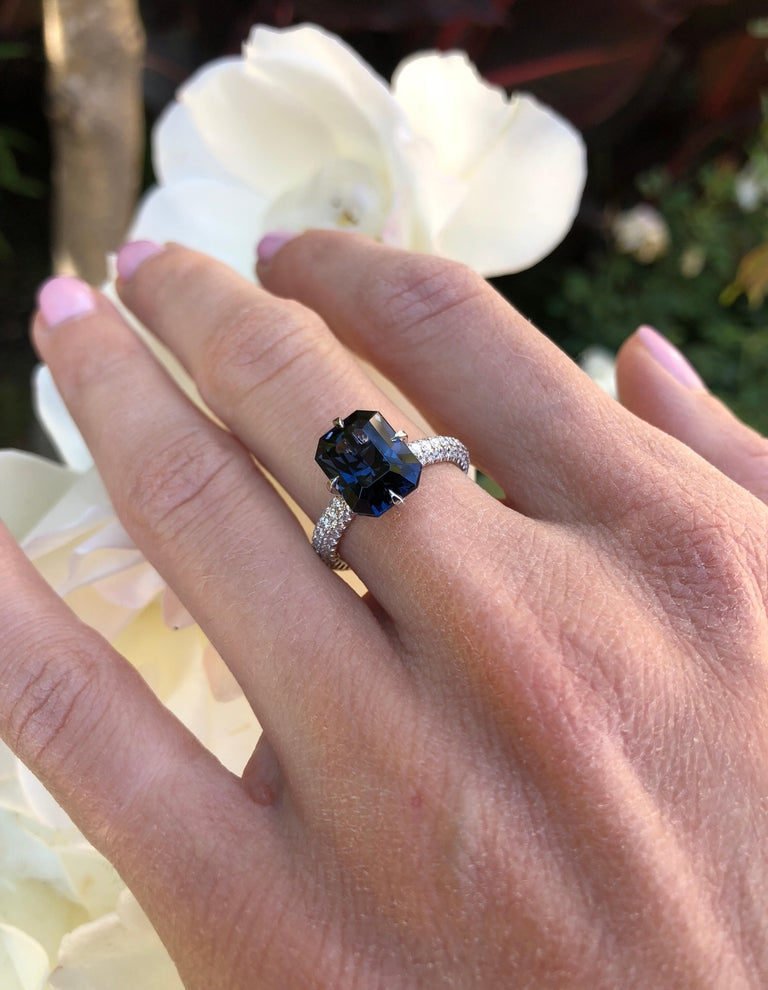Blue Spinel Engagement Ring Emerald Cut Diamond Platinum Cocktail Ring For Sale 2
