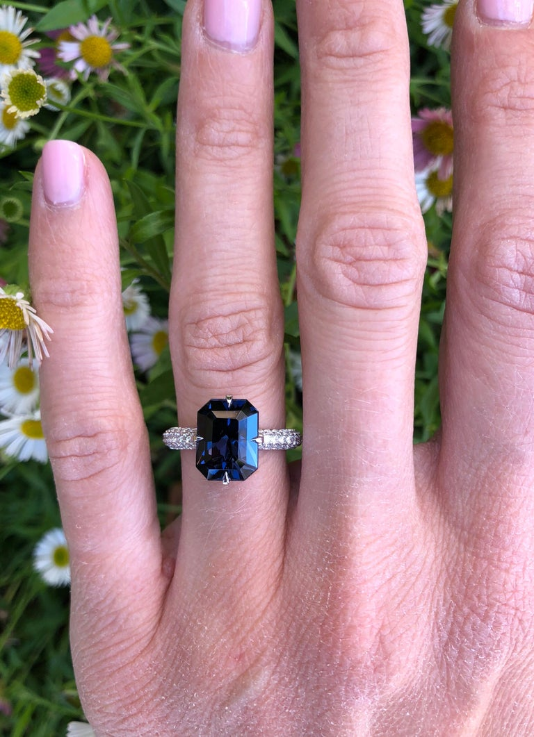 Blue Spinel Engagement Ring Emerald Cut Diamond Platinum Cocktail Ring For Sale 3