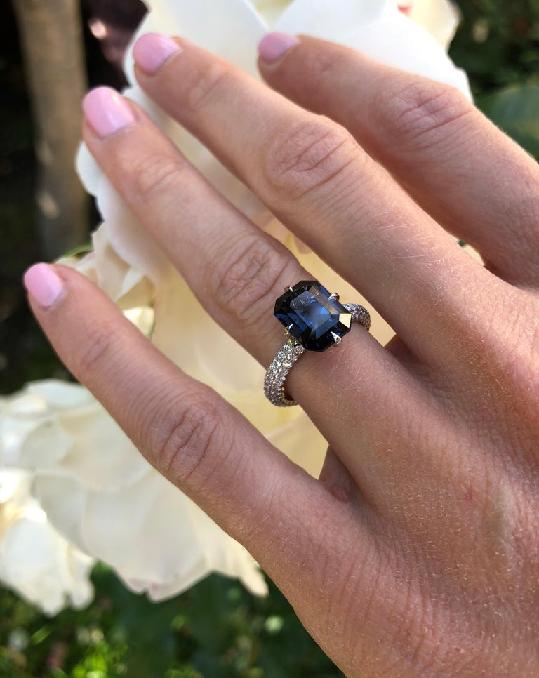 Blue Spinel Engagement Ring Emerald Cut Diamond Platinum Cocktail Ring For Sale 4
